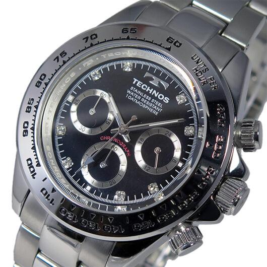 テクノス TECHNOS クオーツ メンズ クロノ 腕時計 T4392SB シルバー ブラック