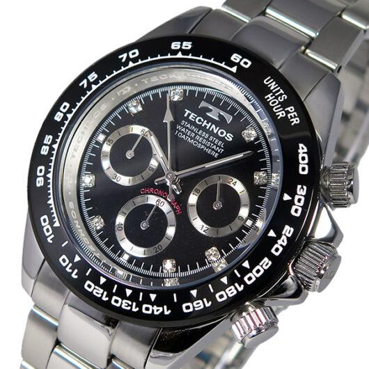 テクノス TECHNOS クオーツ メンズ クロノ 腕時計 T4392TB ブラック ブラック