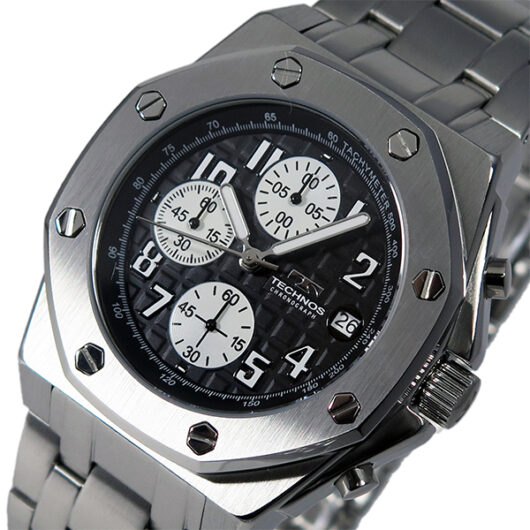 テクノス TECHNOS クオーツ メンズ クロノ 腕時計 T4393SB ブラック ブラック