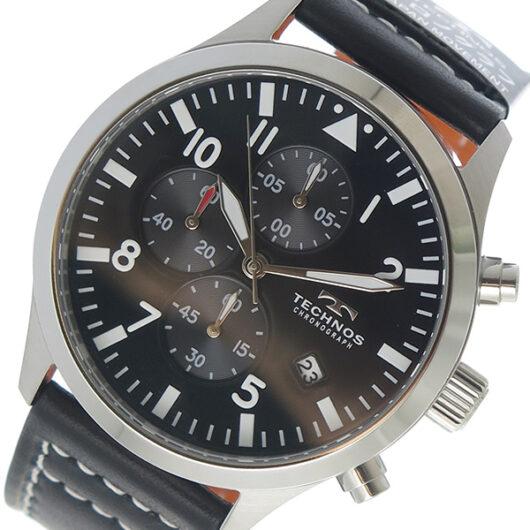 テクノス TECHNOS クロノ クオーツ メンズ 腕時計 T4553SB ブラック ブラック