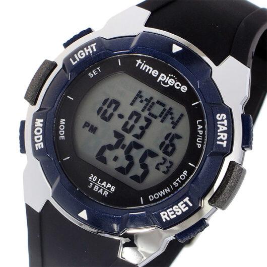 タイムピース TIME PIECE ランニングウォッチ デジタル メンズ 腕時計 TPW-004BL ブラック/ブルー ブラック