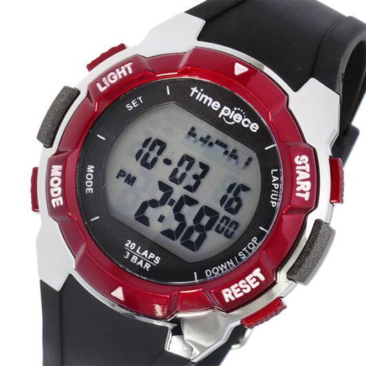 タイムピース TIME PIECE ランニングウォッチ デジタル メンズ 腕時計 TPW-004RD ブラック/レッド ブラック