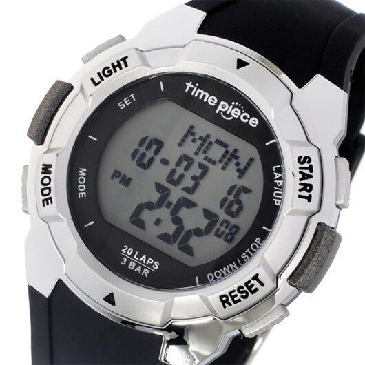 タイムピース TIME PIECE ランニングウォッチ デジタル メンズ 腕時計 TPW-004SV ブラック/シルバー ブラック
