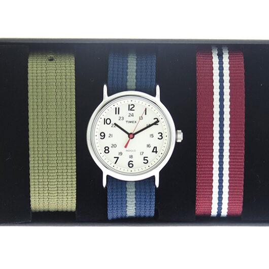 タイメックス TIMEX インディグロ INDIGLO 替えベルト4点セット クオーツ メンズ 腕時計 UG0109 ホワイト/ネイビー ホワイト
