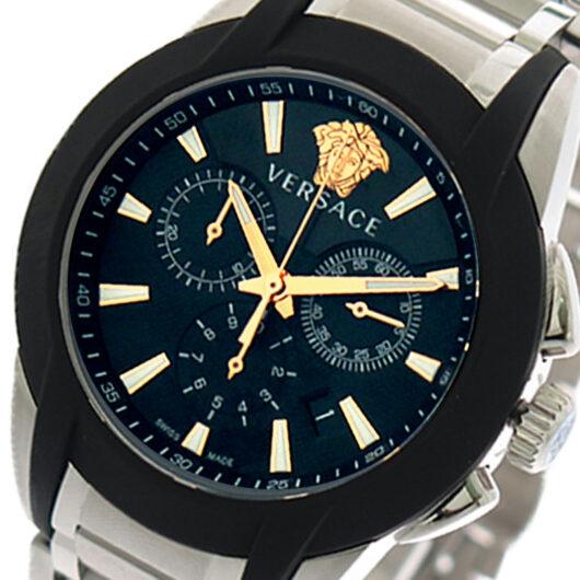 ヴェルサーチ VERSACE 腕時計 メンズ VEM800218 クォーツ ブラック シルバー ブラック