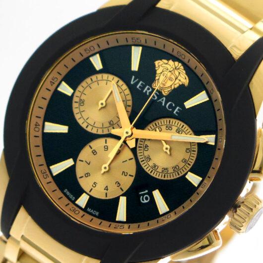 ヴェルサーチ VERSACE 腕時計 メンズ VEM800318 クォーツ ブラック ゴールド ブラック