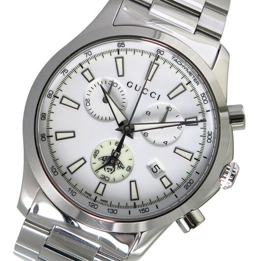 グッチ GUCCI Gタイムレス クロノ クオーツ メンズ 腕時計 YA126472 ホワイト ホワイト