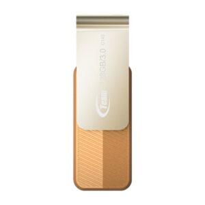 Team 128GB 型番 TC1433128GN01 USB3.0 フラッシュメモリー 回転式USBを採用 キャップレス Color series C143 ブラウン 保証1年