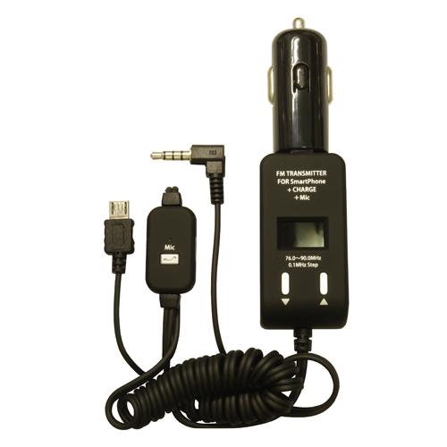 PROTEK スマートフォン用FMトランスミッター手ぶら通話+充電 ブラック PSTM-MC-BK