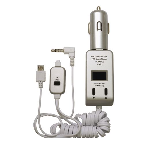 PROTEK スマートフォン用FMトランスミッター手ぶら通話+充電 ホワイト PSTM-MC-SV