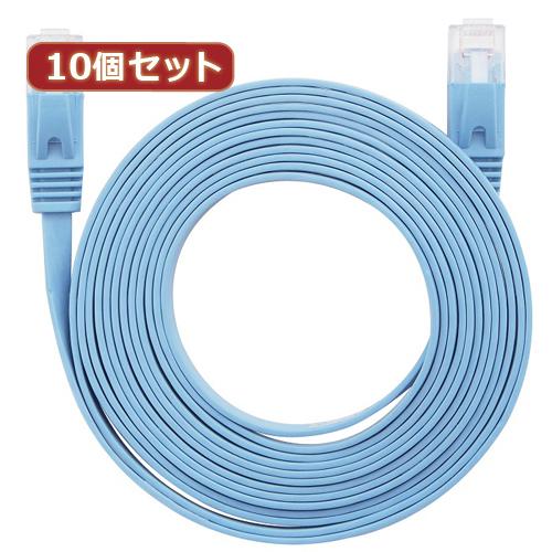 10個セット LANケーブル フラット CAT6 10m 青 AS-CAPC022X10