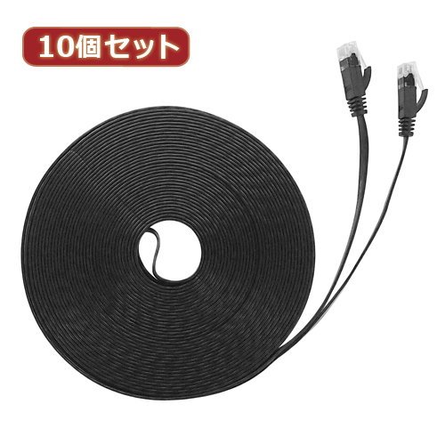 10個セット LANケーブル フラット CAT6 20m 黒 AS-CAPC040X10
