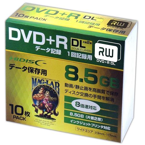 10個セット HIDISC DVD+R DL 8倍速対応 8.5GB 1回 データ記録用 インクジェットプリンタ対応10枚 スリムケース入り HDD+R85HP10SCX10