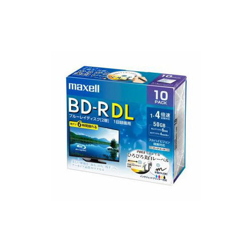 maxell BRV50WPE10S 録画用BD-R ひろびろ美白レーベルディスク 1-4倍 50GB 10枚 うす型5mmケース