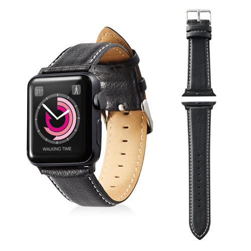 エレコム Apple Watch 38mm ソフトレザーバンド ラウンドボートタイプ ブラック AW-38BDLRBBK