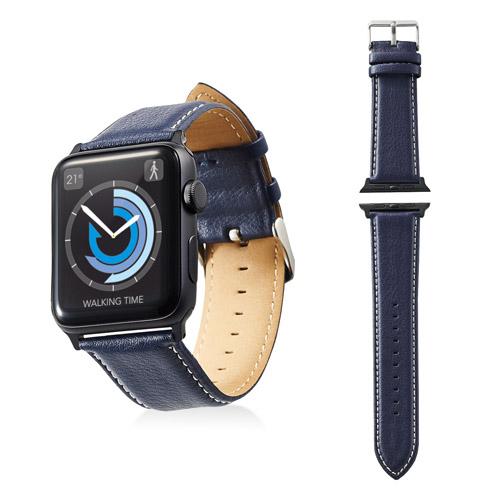 エレコム Apple Watch 42mm ソフトレザーバンド ラウンドボートタイプ ネイビー AW-42BDLRBBU