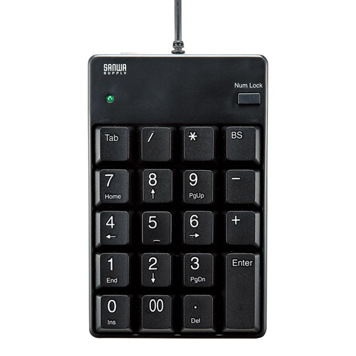 サンワサプライ USB2.0ハブ付テンキー NT-17UH2BKN