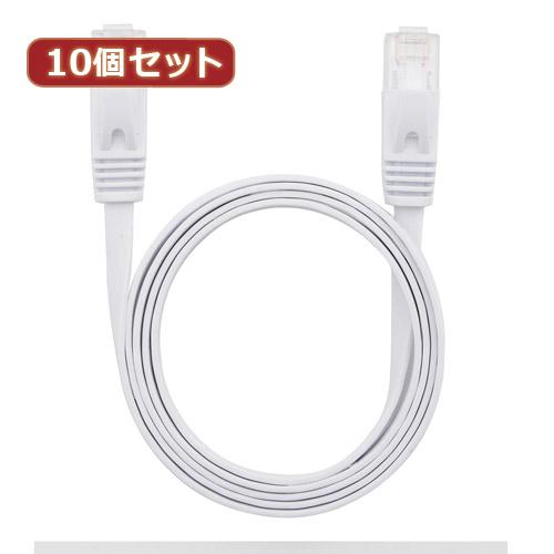 10個セット LANケーブル フラット CAT6 1m 白 AS-CAPC011X10